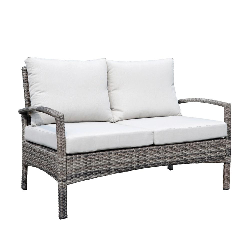 Kimble Collection 4 Piece Wicker And Aluminum Conversation Set With Dove Cushions