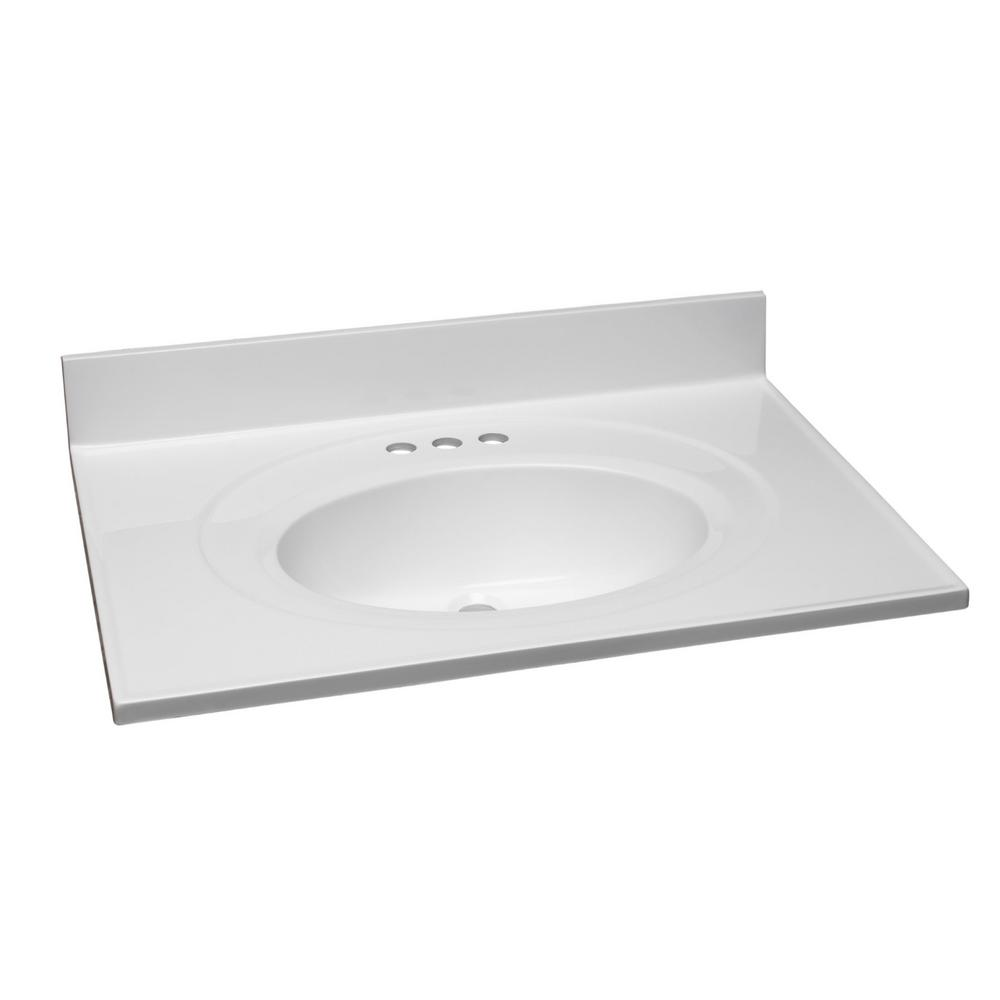 Design House 31 in. W Cultured Marble Vanity Top in White with Solid White Bowl