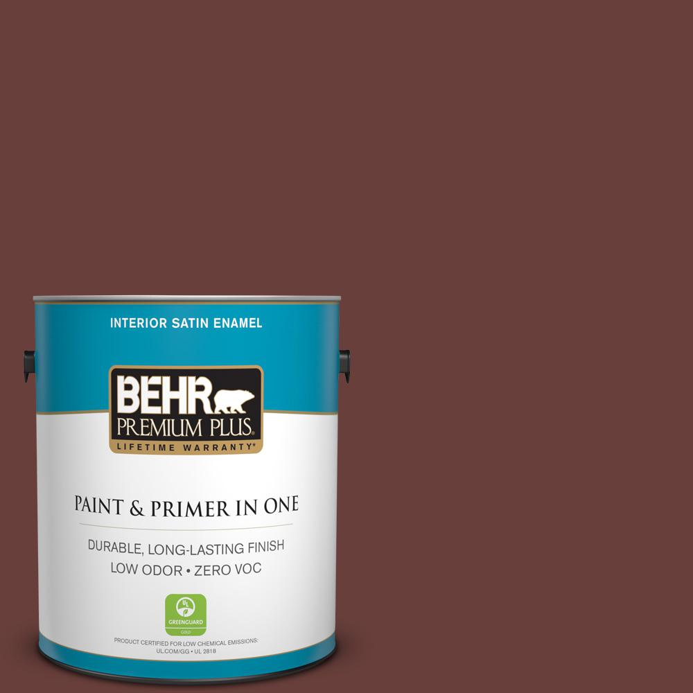 BEHR Premium Plus 1-gal. #190F-7 Mayan Red Zero VOC Satin Enamel Interior Paint