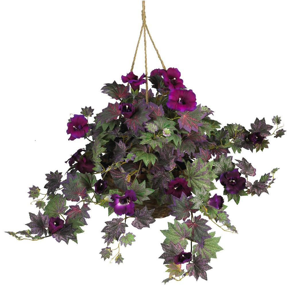 Nearly Natural Morning Glory Hanging Basket Silk Plant 6610 The