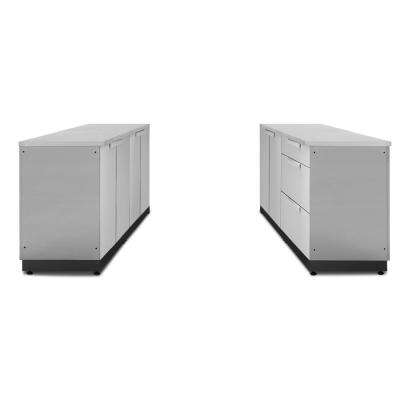 Stainless Steel 128 in. W x 36.5 in. H x 24 in. D Outdoor Kitchen Cabinet Set with Countertops