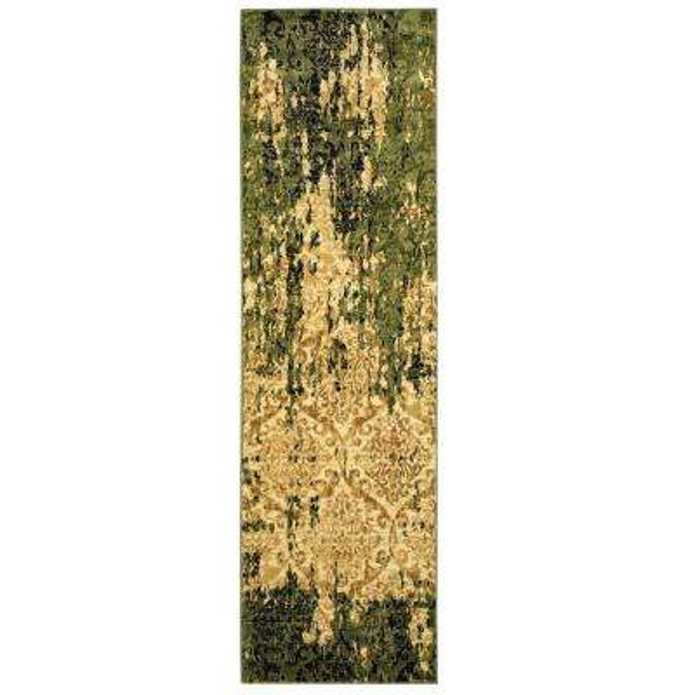 Matrix Ivory/Dark Green Rectangle 2 ft. x 7 ft. Indoor Runner Rug