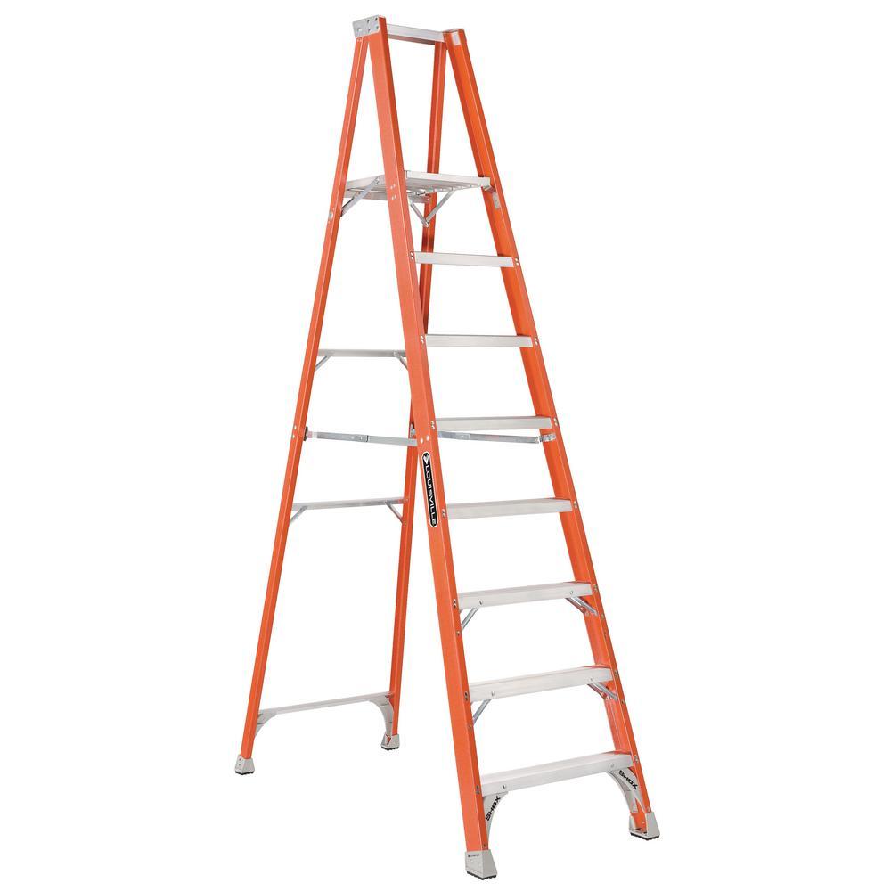 Werner 8 Ft Fiberglass Platform Step Ladder With 375 Lb