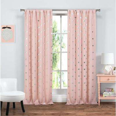 Print Bubblegum Pink Polyester Blackout Grommet Window Curtain - 37 in. W x 84 in. L (2-Pack)