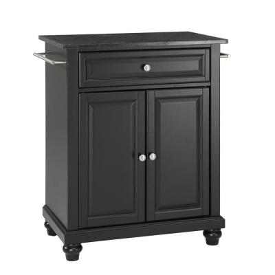 Cambridge Black Portable Kitchen Island with Granite Top
