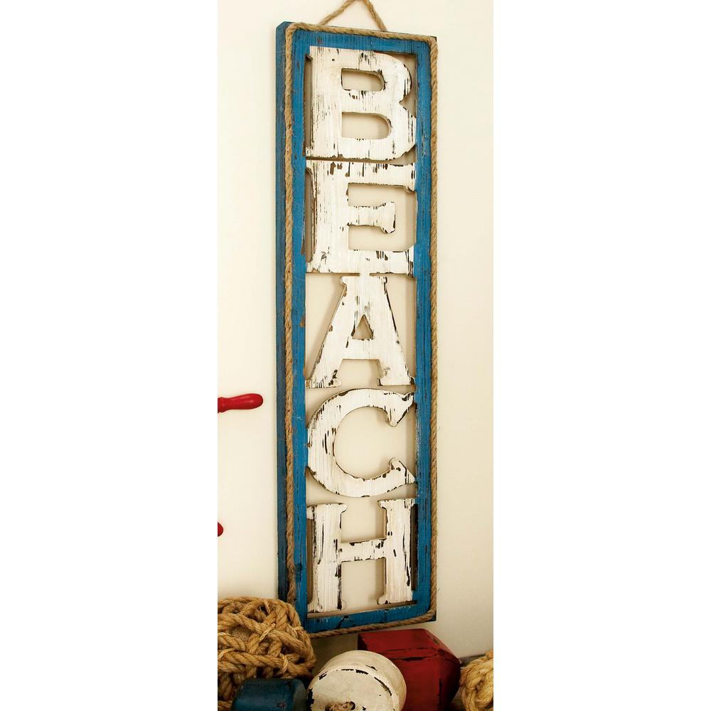 "10 in. x 41 in. Coastal Living ""BEACH"" Vertical Wall Sign"