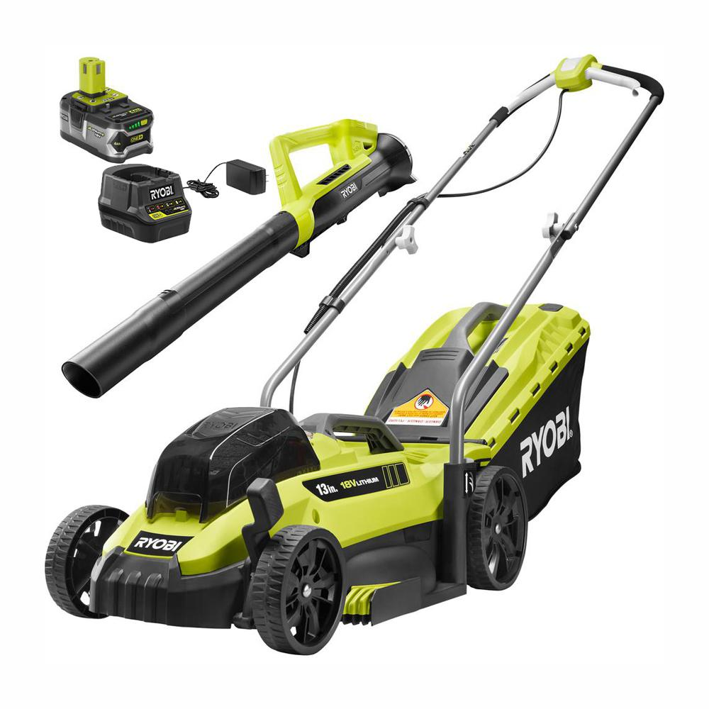 RYOBI 13 in. ONE+ 18-Volt Lithium-Ion Cordless Battery Push Lawn Mower/Leaf Blower Combo Kit 4.0 Ah Battery/Charger Included