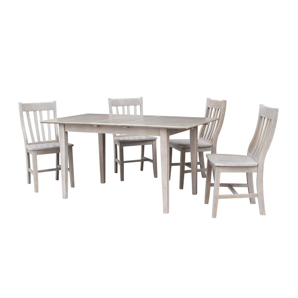 Leah 5 Piece Weathered Taupe Gray Extendable Dining Set