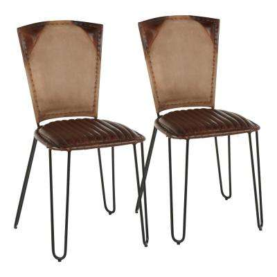 Ali Industrial In Espresso Leather Tan Canvas and Black Metal Dining Chair (Set of 2)