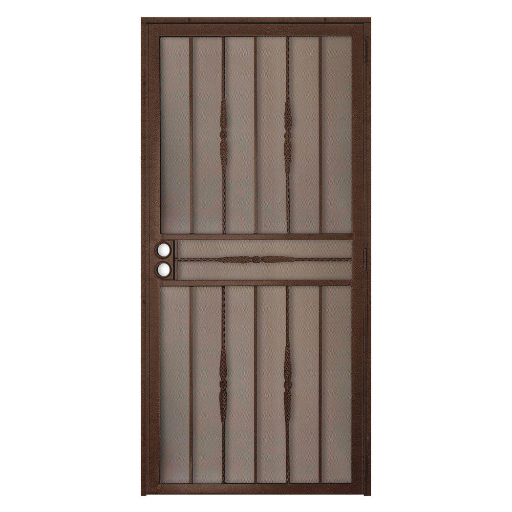 Unique Home Designs 36 in. x 80 in. Cottage Rose Copper Surface Mount Outswing Steel Security Door with Expanded Metal Screen
