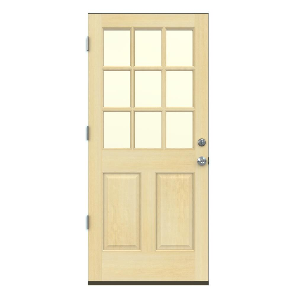 Jeld wen 36 in x 80 in 9 lite unfinished wood prehung right hand outswing front door w primed 36 x 80 outswing exterior door