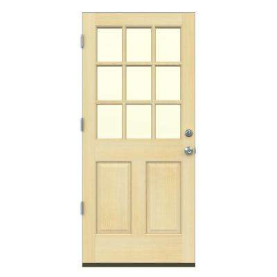 36 in. x 80 in. 9 Lite Unfinished Wood Prehung Right-Hand Outswing Front Door w/Primed Rot Resistant Jamb