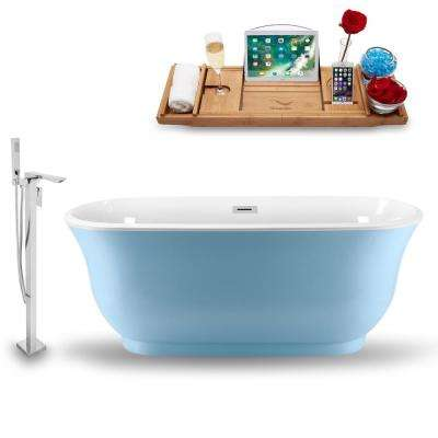 Tub, Faucet and Tray Set 59 in. Acrylic Flatbottom Non-Whirlpool Bathtub in Glossy Blue