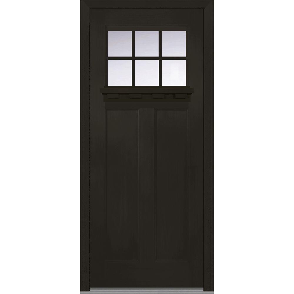 Mmi Door 36 In X 80 In Shaker Right Hand Inswing 6 Lite Clear Low