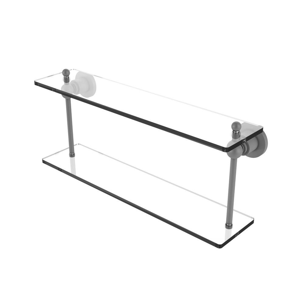 . Allied Brass Astor Place Collection 22 in  Two Tiered Glass Shelf in Matte  Gray