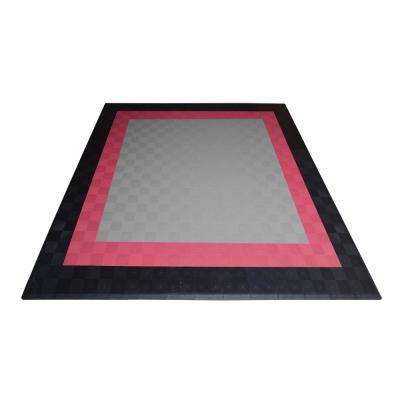 17.5 ft. x 17.5 ft. Silver with Black and Red Borders Ribtrax Smooth Eco Flooring, Double Car Pad Kit