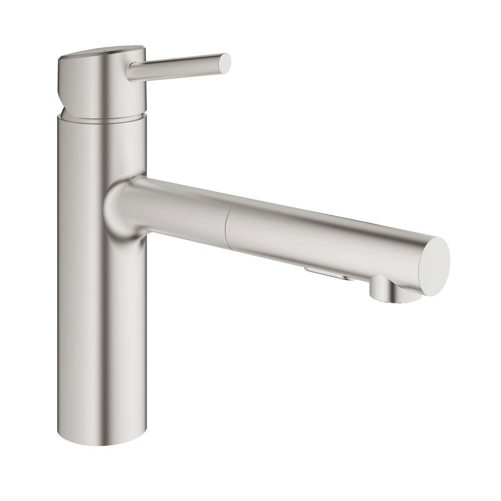 GROHE Concetto Single Handle Pull Out Sprayer Kitchen Faucet In SuperSteel  Infinity Finish