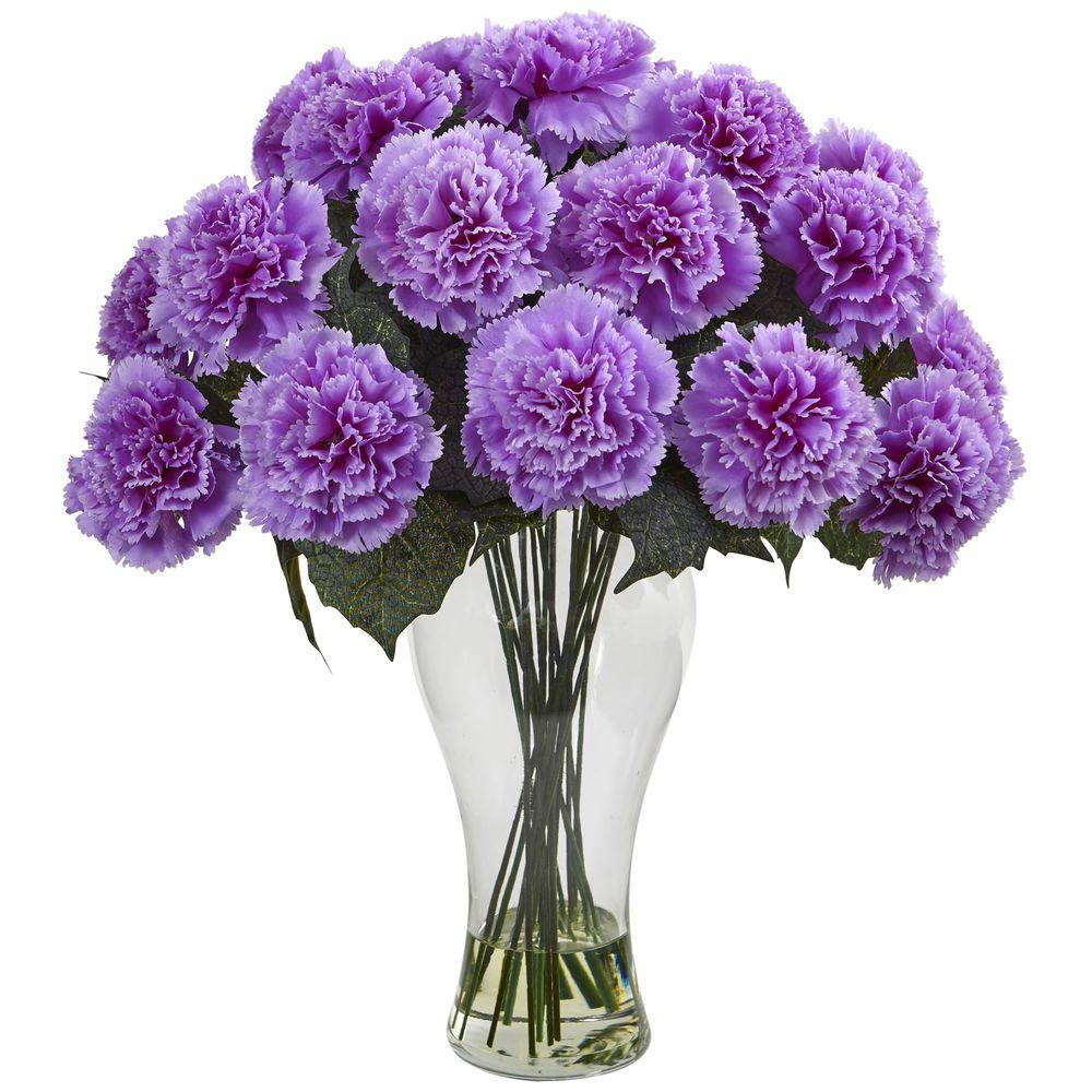 Nearly Natural Purple Carnation Arrangement With Vase 1403 Pp The