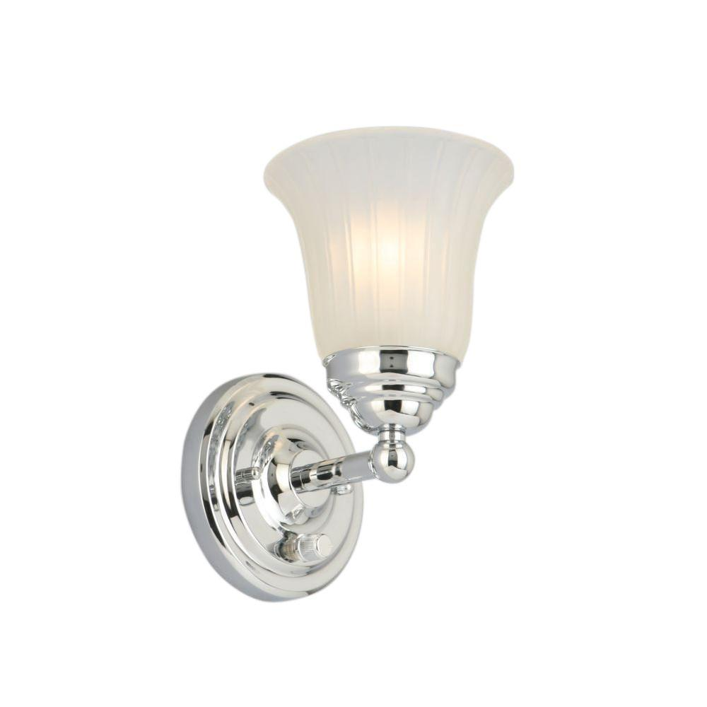 1-Light Chrome Sconce with Frosted Glass Shade