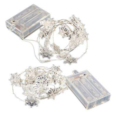 Battery Operated LED Waterproof Mini String Lights with Timer (20ct) Snowflake (Set of 2)