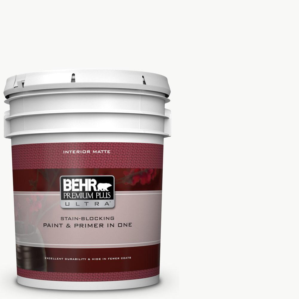 BEHR Premium Plus Ultra 5 gal. Ultra Pure White Flat Matte Interior Paint and Primer in One