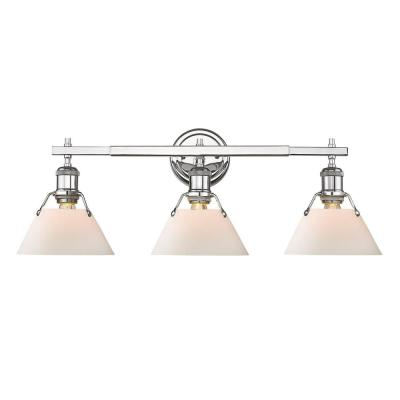 Orwell 3-Light Chrome with Opal Glass Shade Bath Vanity Light