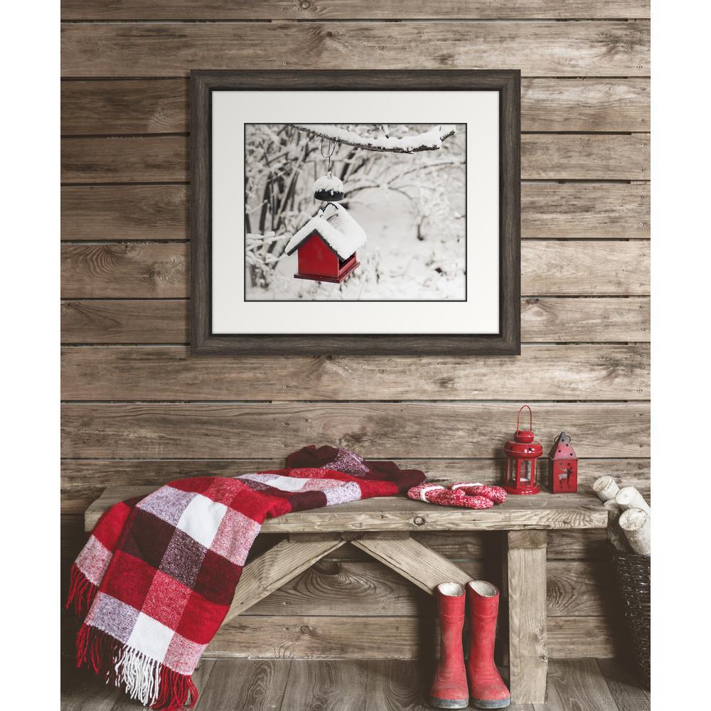 "30 in. x 26 in. ""Red Birdfeeder"" Framed Giclee Print Wall"