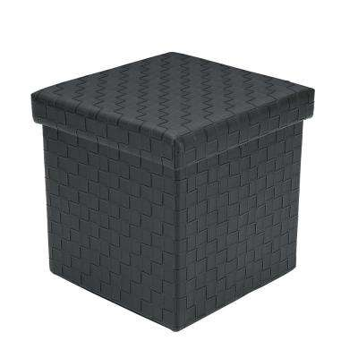 Preston Black Cube Storage Ottoman