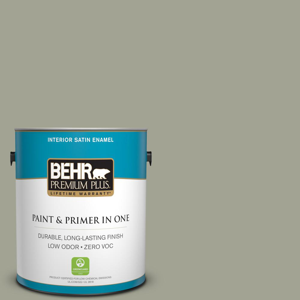 BEHR Premium Plus Home Decorators Collection 1 Gal. #HDC NT 01 Woodland  Sage Satin Enamel Zero VOC Interior Paint And Primer In One 740001   The  Home Depot