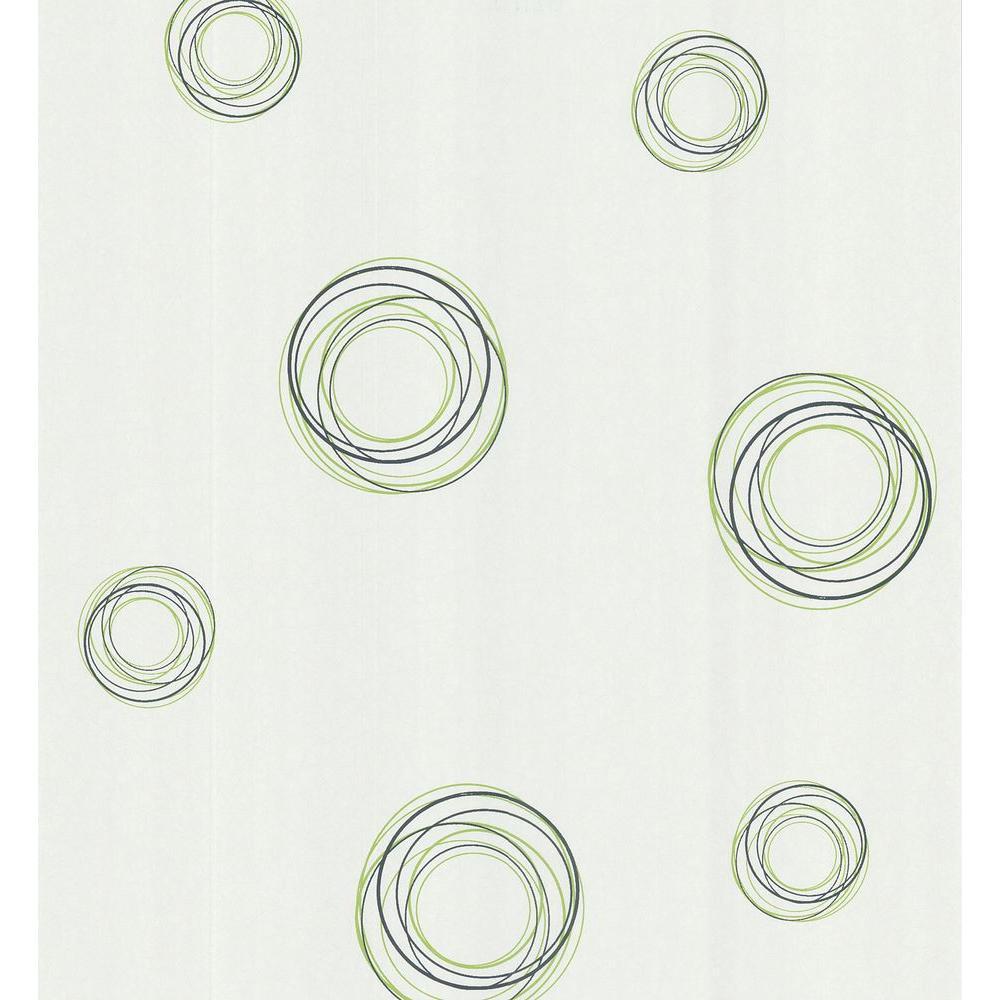 Brewster Simple Space White Retro Circles Wallpaper Sample