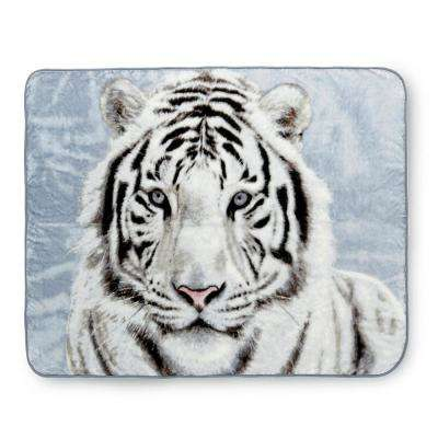 80 in. x 60 in. High Pile White Tiger Raschel Knit Throw