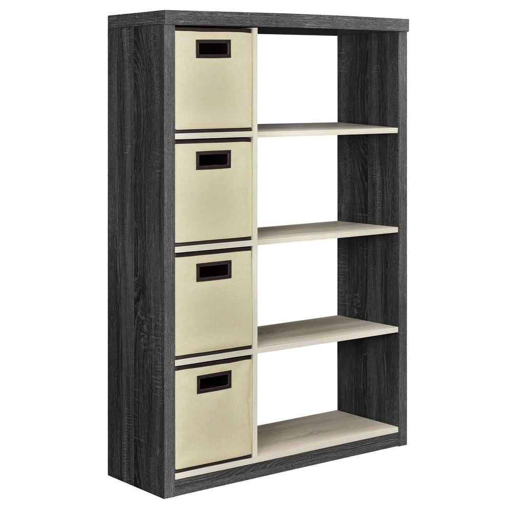 ameriwood home ivywood espresso and light brown storage open bookcase with 4 bins hd35909 the. Black Bedroom Furniture Sets. Home Design Ideas
