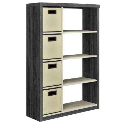 Ivywood Espresso and Light Brown Storage Open Bookcase with 4-Bins