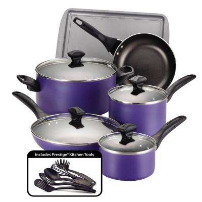 15-Piece Purple Cookware Set with Lids