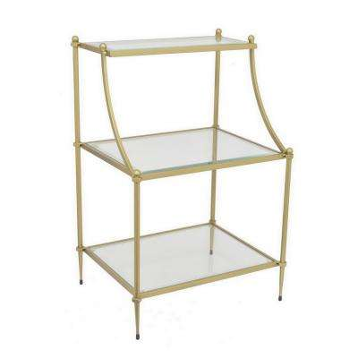 26 in. Gold Metal Rack with Glass Shelves