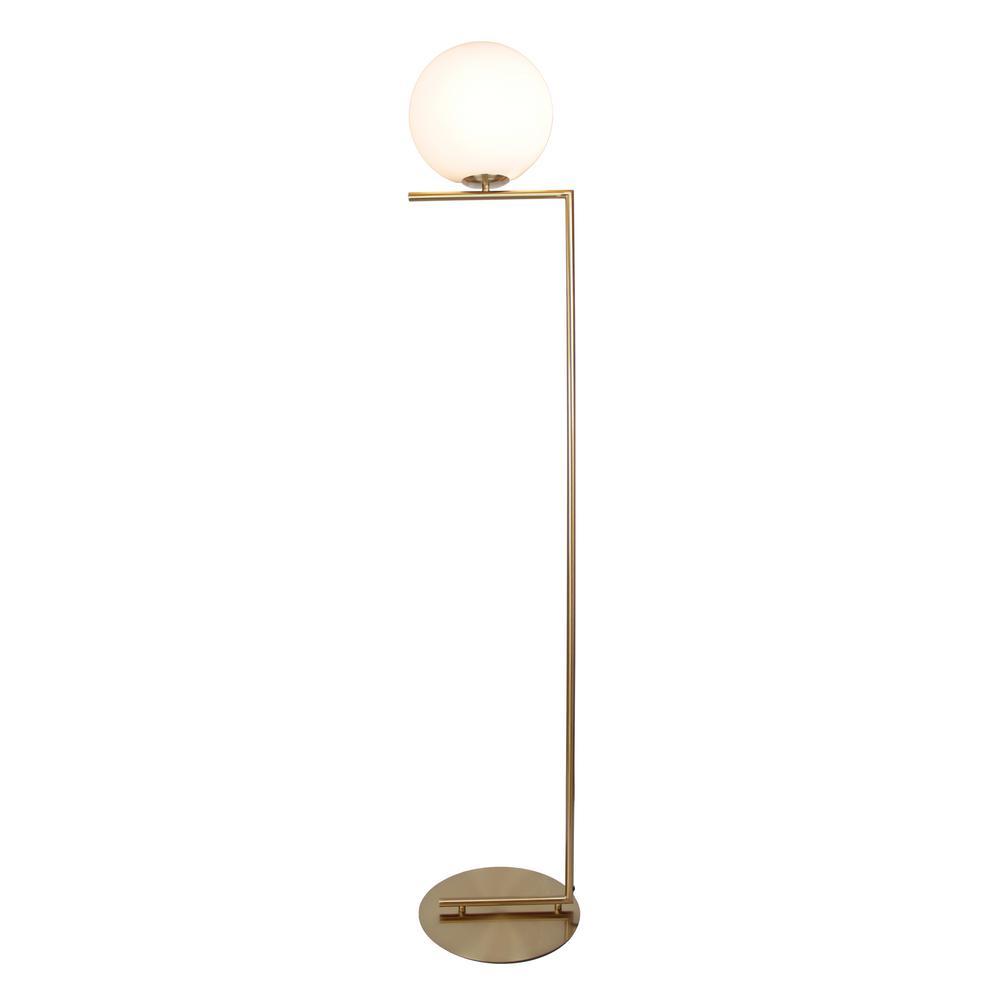 Eqlight Mid Century 62 In Satin Brass Floor Lamp With Glass Shade