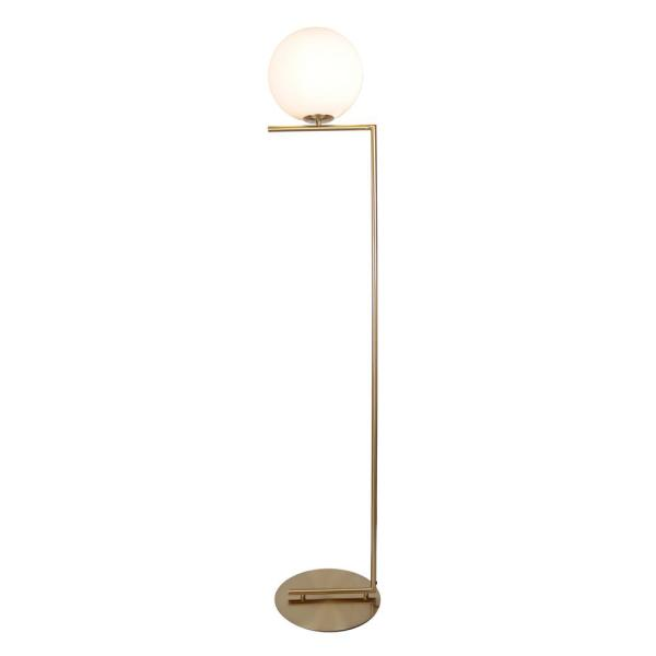 Mid Century 62 in. Satin Brass Floor Lamp with Glass Shade