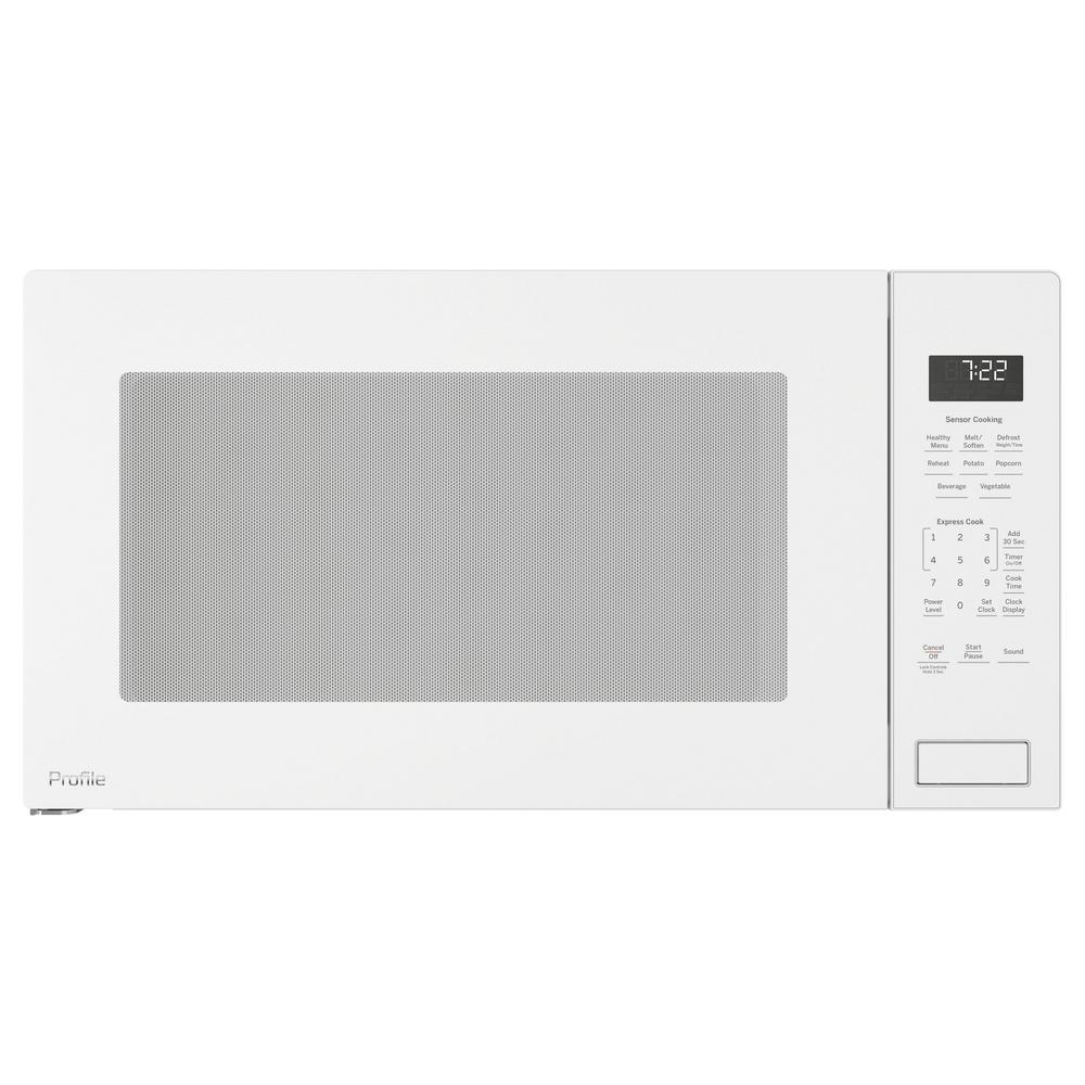 GE Profile 2.2 cu. ft. Countertop Microwave in White with Sensor Cooking, White On White