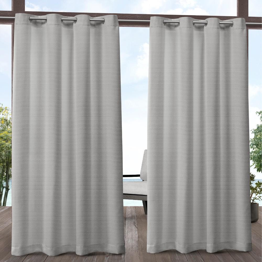 Aztec 54 in. W x 84 in. L Indoor Outdoor Grommet Top Curtain Panel in Silver (2 Panels)
