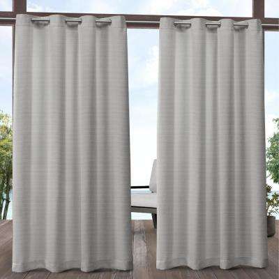 Aztec 54 in. W x 84 in. L Indoor Outdoor Grommet Top Curtain Panel in Silver (2 Panels)