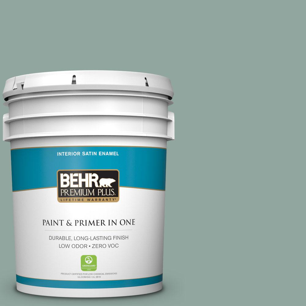 5 gal. #PPU12-05 Lotus Leaf Zero VOC Satin Enamel Interior Paint