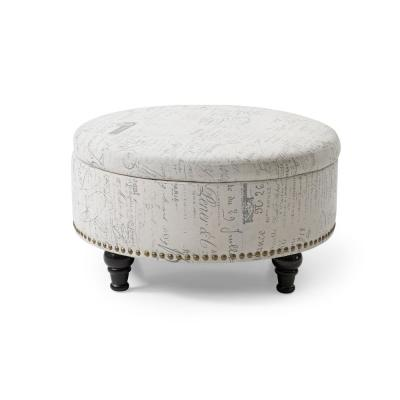 Multi-Colored Round Storage Ottoman with Nailhead Vintage Script