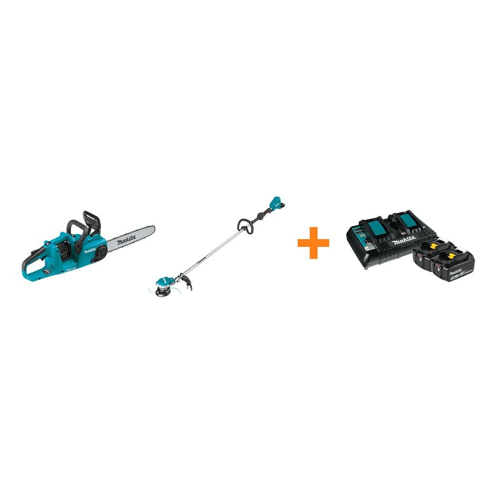 Makita 18V X2 LXT 14 in. Rear Handle Chainsaw and 18V X2 LXT String Trimmer with bonus 18V LXT Starter Pack was $807.0 now $548.0 (32.0% off)