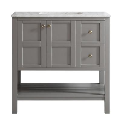 Florence 36u0022 Single Vanity in Grey with Carrara White Marble Countertop without Mirror