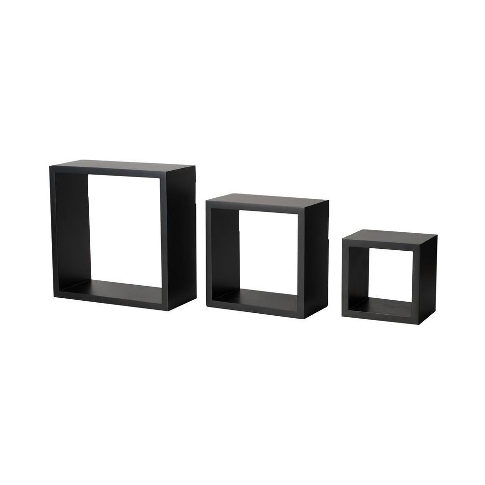 9 in. x 9 in. Black 3-Cube Organizer