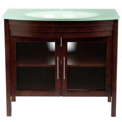 Bradford W 40 in. Single Vanity in Walnut with Glass Vanity Top in Aqua