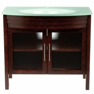 Bellaterra Home Bradford W 40 inch Single Vanity in Walnut with Glass Vanity Top in Aqua by Bellaterra Home
