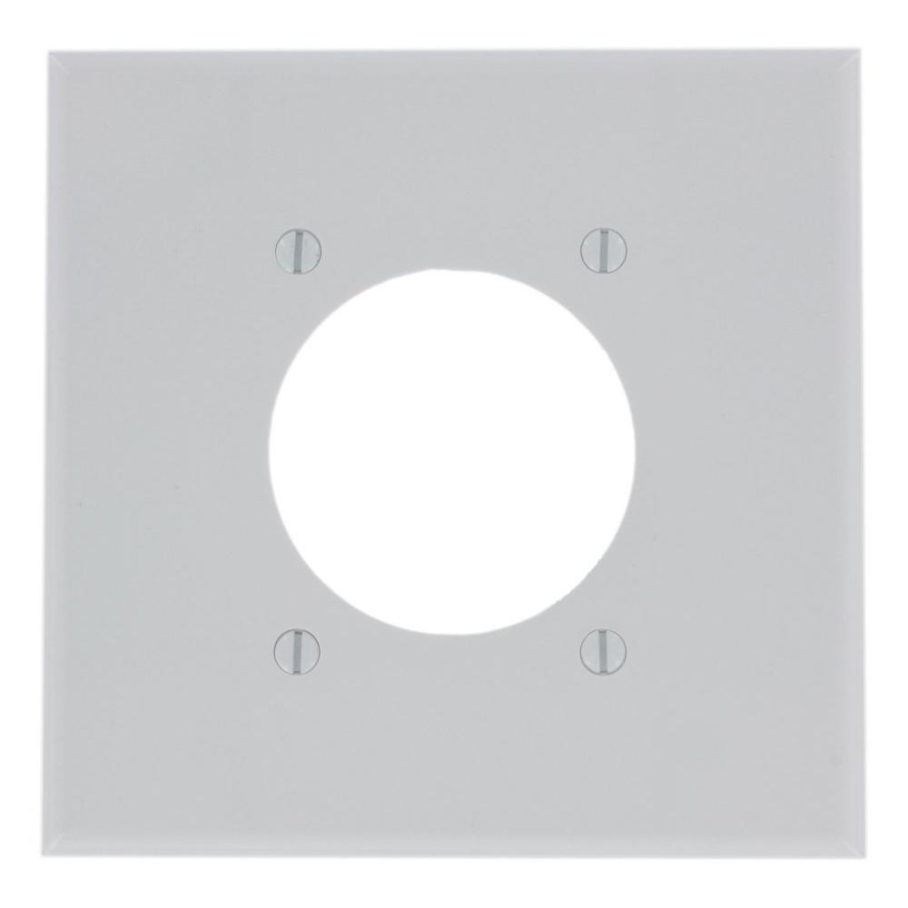 2gang flush mount wall plate white