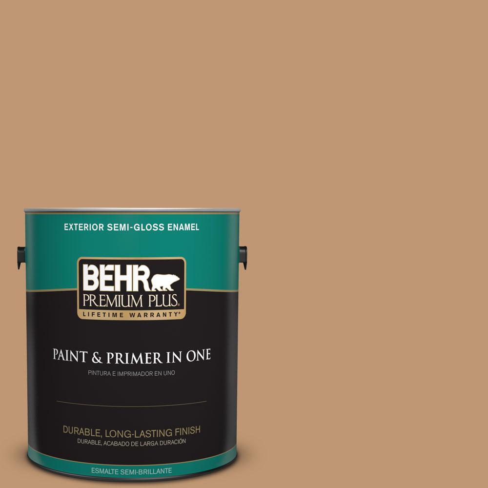BEHR Premium Plus 1-gal. #270F-5 Wilmington Tan Semi-Gloss Enamel Exterior Paint