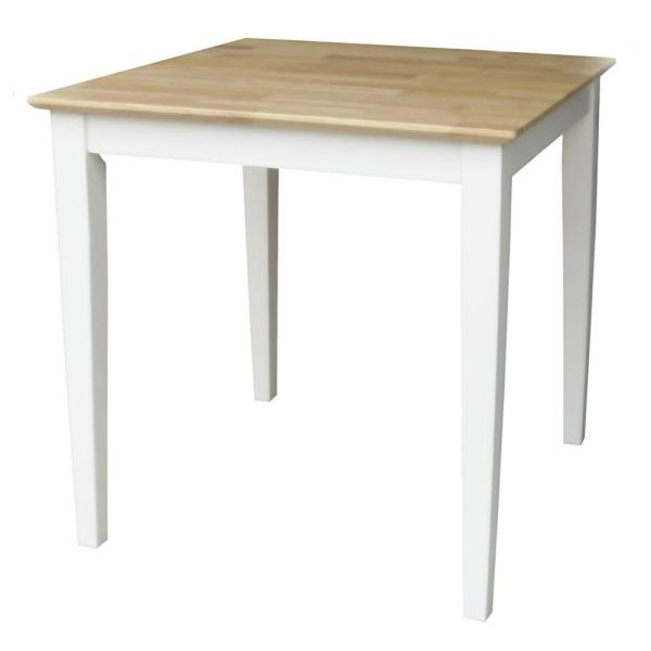 International Concepts White and Natural Dining Table